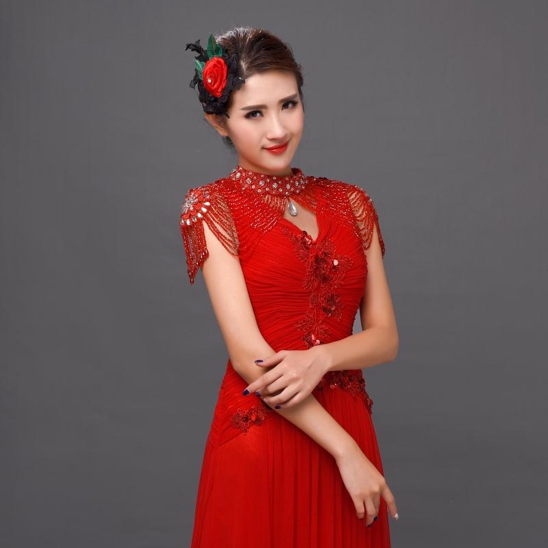 Chic White/Red Wedding Bolero Beaded Luxury Crystals Wedding Wrap Wedding Accessories Bling Evening Dress Bolero Bridal Shawl