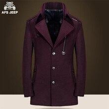 Afs джип новинка оригинальный бренд мужской шерсти и хлопка с куртка, Одноместный груди кнопки зимний мужской свободного покроя тонкий шерсть и смеси