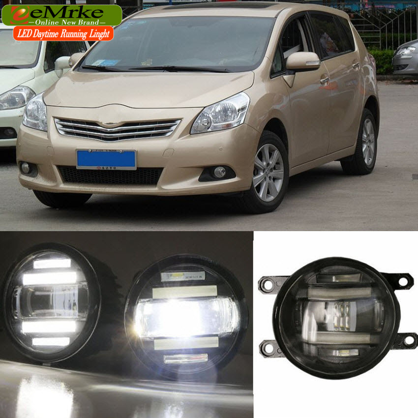 eeMrke Xenon White High Power 2in1 LED DRL Projector Fog Lamp With Lens For Toyota Verso R20 2009-up цена