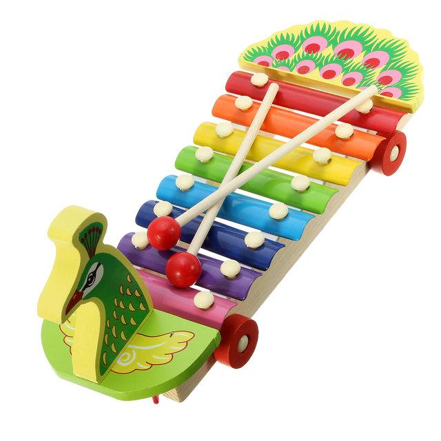 Xilofone Brinquedos Educativos Novo Crianças Brinquedos De Madeira de madeira Pavão Batedor Bater Música Brinquedos Para Crianças Aprendizado & Educação