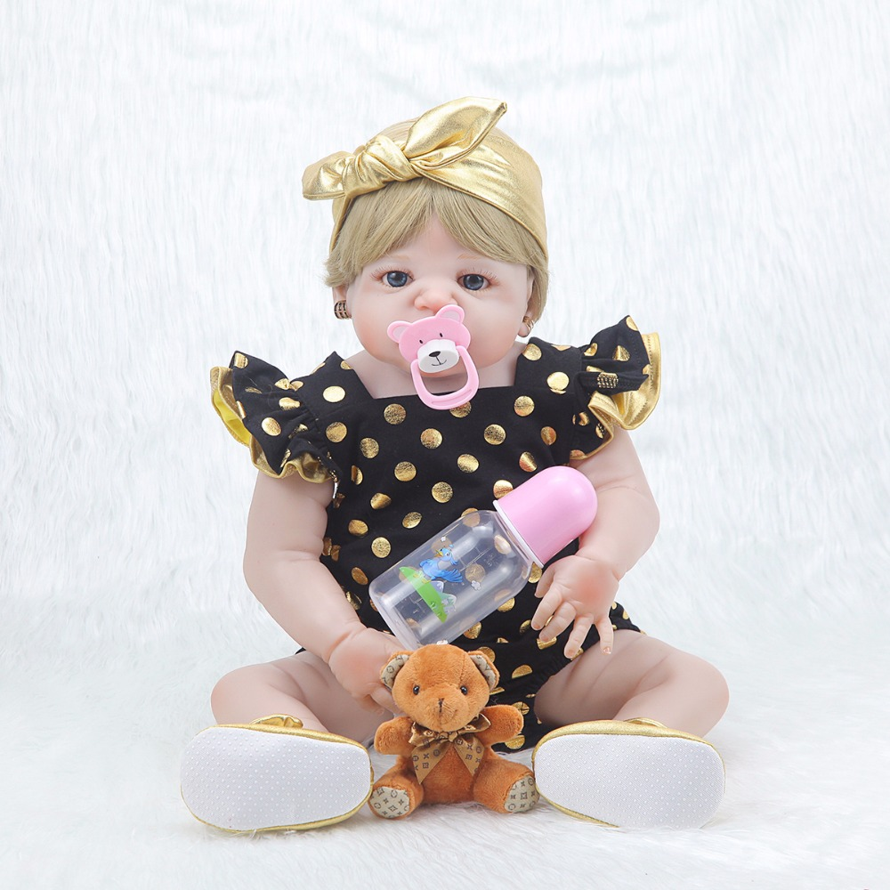 The latest model white skin rebirth doll 23 inch handmade newborn girl silicone vinyl doll toy with blue eyes for sale pink wool coat doll clothes with belt for 18 american girl doll