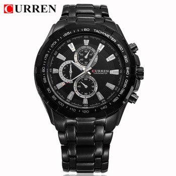 Curren 8023 Brand Luxury Military Men Quartz Watch Waterproof Stainless Steel Black Casual Mens Sport Watches Relogio Masculino