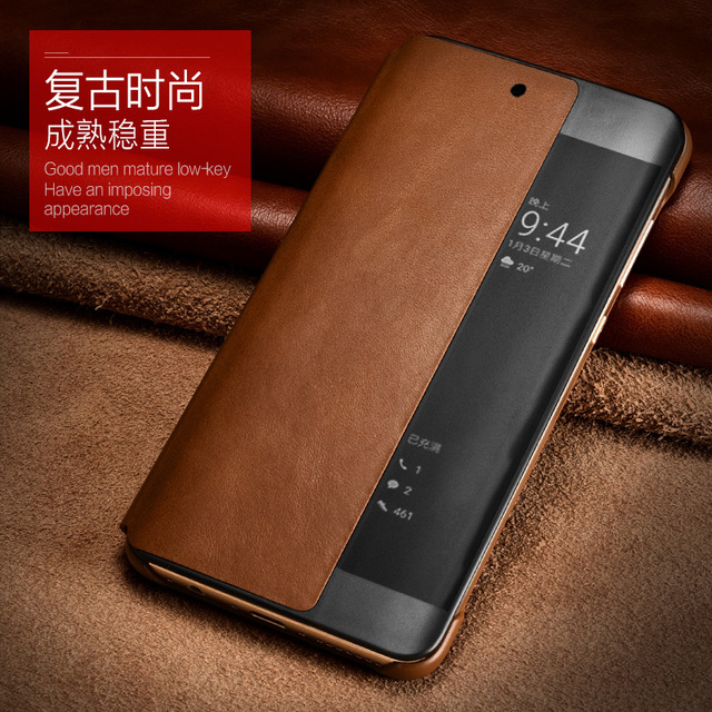 brand new 29609 7ded7 US $23.99 20% OFF|Original XOOMZ brand for Huawei P20 / P20 Pro Real  Genuine Cowhide Leather Cover Intelligent Sleep Smart Vintage Phone Case-in  Flip ...