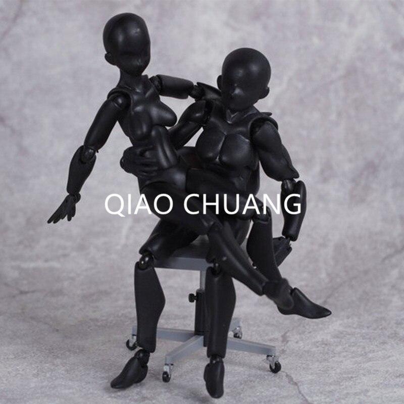 13 см Творческий 2 шт. он она ПВХ женщина мужской черный тела супер подвижные украшения ПВХ фигурку Коллекция Модель игрушка G121