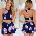 FANALA Women Set 2Pcs Suits 2017 Floral Printed Set Halter Off-shoulder Backless Crop Tops and Short Two Pieces Women Summer