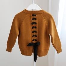 DFXD 2017 Autumn Winter Baby Girls Sweater Soild Long Sleeve Single-breasted Back Bowknot Kids Knitwear Cardigan Coat 2-7Y