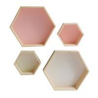 2018 New Wood Hexagon Wall Decoration Living Room Bedroom Wall Hanging Storage Box Polygon Wooden Plants Shelf