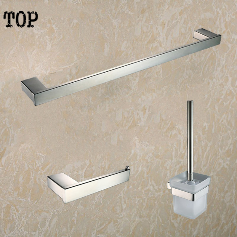 ФОТО 304 Stainless steel bathroom accessories set 3 Piece-Single Towel Bar and paper holder and Tissue brush holder Polished Finished