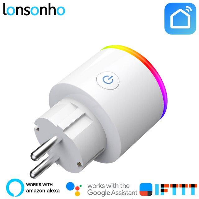Lonsonho inteligentna wtyczka ue inteligentne gniazdo WiFi monitorowanie mocy oszczędzanie energii działa z Google domu Mini Alexa IFTTT inteligentnego życia aplikacji
