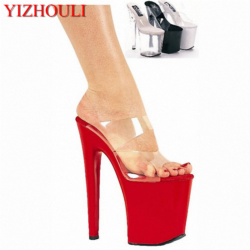 20cm High-Heeled Shoes Sexy Cutout Sandals 8 Inch Heel High Platform Sandal Slip On Sexy Stripper Shoes Open Toe Stripper Shoes 20cm sexy ultra high heeled platform shoes performance shoes platform black pu leather single shoes 8 inch fashion crystal shoes
