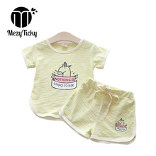 MezyTicky Summer Baby Newborn Striped T-shirt pants clothing sets boys girls Toddler children pony printed Casual clothes suit