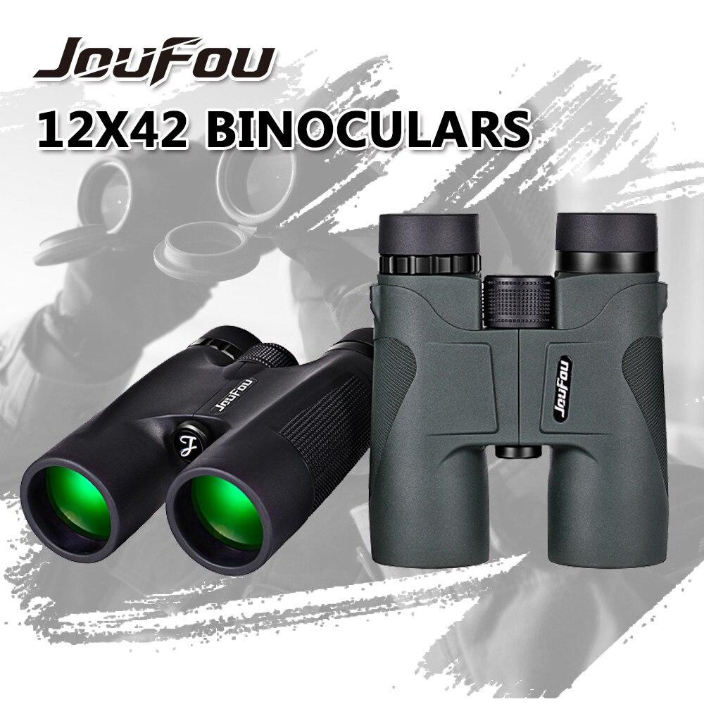 JouFou 12X42 Binocular PORRO Bak7 Prism Telescope Wide-angle Optics Waterproof Fogproof Binoculars for Hunting Camping Hiking  цены