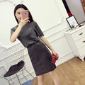 [Alphalmoda] Sparkling Bright Short-sleeved Sweater + High Waist Pencil Step Skirt Women Casual Knitting Suits