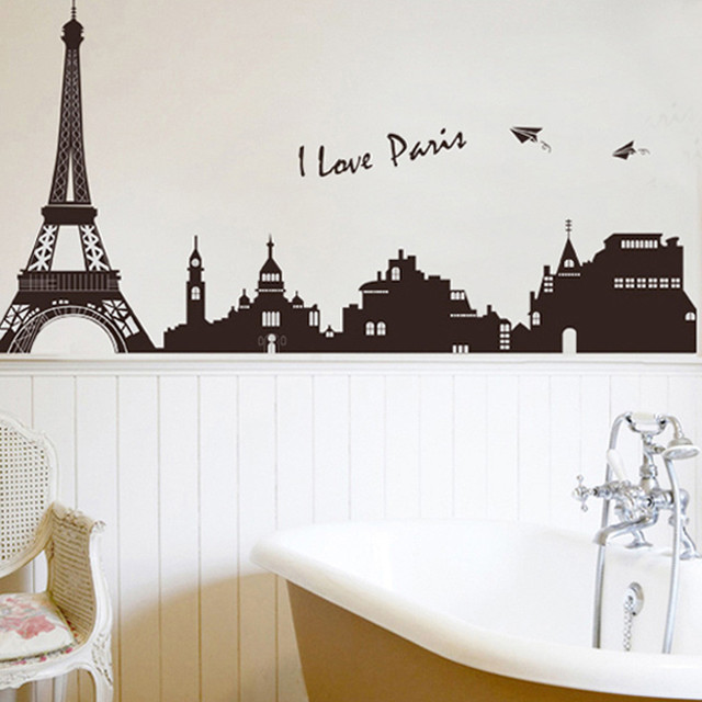 1PCS Vinyl Decal Paris City Eiffel Tower Wall Stickers Living Room Bedroom  Home Mural Decor DIY