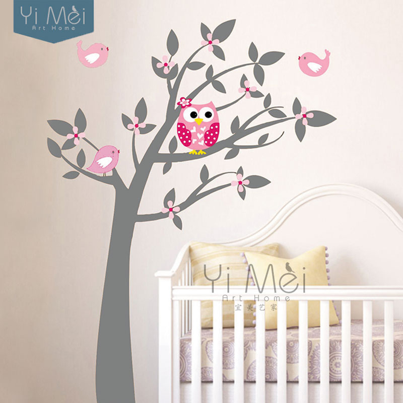 Buy owl vinyl tree wall sticker decals for Childrens mural wallpaper