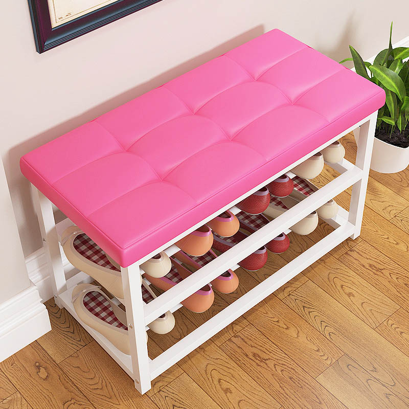 Miraculous Simple Leather Cushion Shoe Bench Creative Storage Shoe Rack Squirreltailoven Fun Painted Chair Ideas Images Squirreltailovenorg