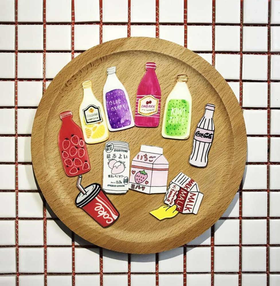 PGY Baik Kartun Acrylic Strawberry Lemon Cherry Buah Kiwi Minuman Botol Susu Bros Topi Kemeja Bros Perhiasan Gratis Pengiriman