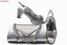Doershow argento Africano scarpe e set borsa per il partito di scarpe  Italiane con il sacchetto di corrispondenza di nuovo diseg. ce30173c369