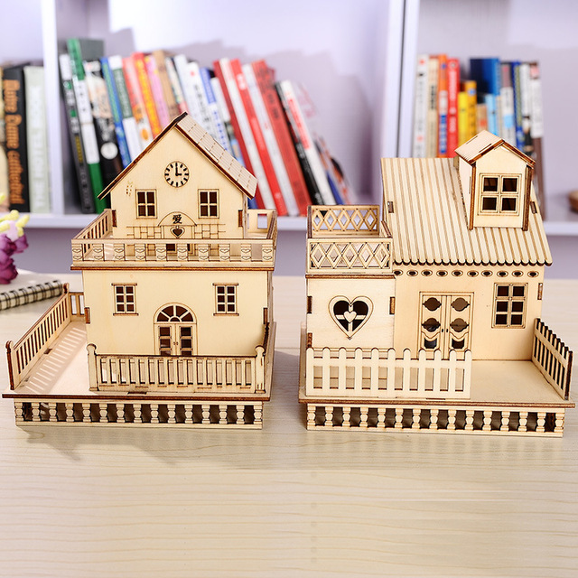 3D Décoration Bois Artisanat En Bois Poupée LED Maison Miniature BRICOLAGE  Meubles LED Lumineux Villa Figurine