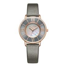 Купить с кэшбэком Julius Watch Women Thin Leather Wristwatch Shell dial Clock Gray RoseGold 30M Waterproof Japan Quartz Movt Stainless back JA-961