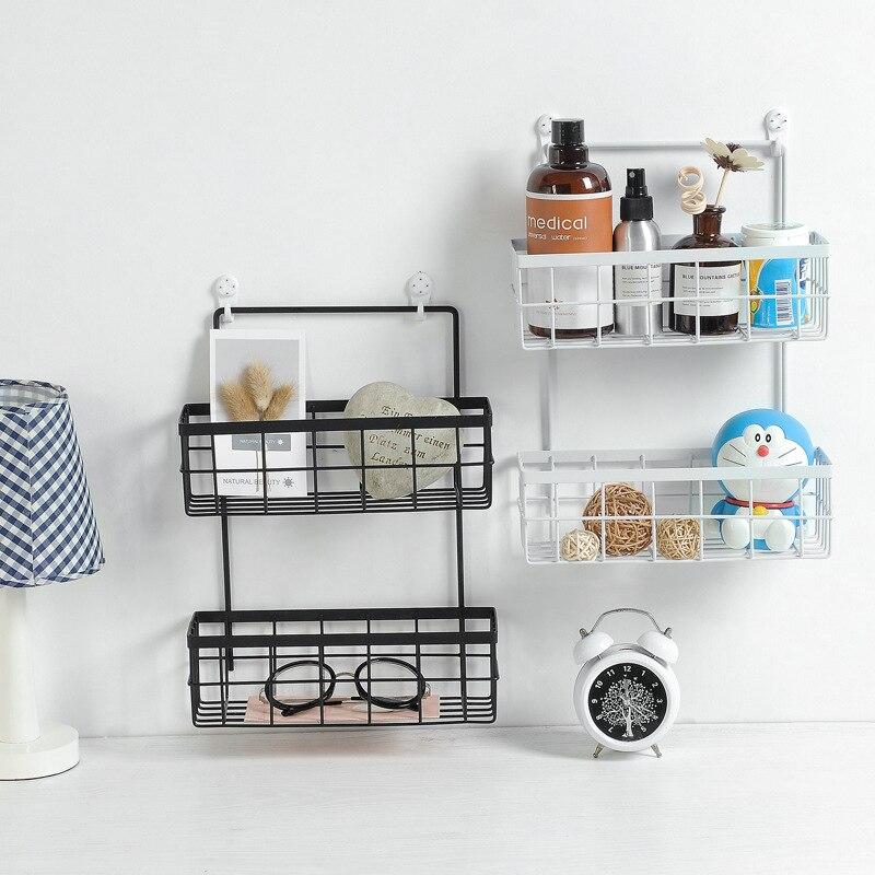 Кованая двухслойная сетчатая корзина настенная подвесная полка для хранения вещей кухонная стойка для Хранения Туалетных принадлежностей для ванной комнаты настенный органайзер Подставки для хранения и стеллажи      АлиЭкспресс
