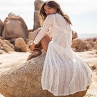 Bohemian Maxi Dress Vacation Women Honeymoon White Lace Maxi Dress Women Summer Perspective Beach Wear Loose Dresses E60016