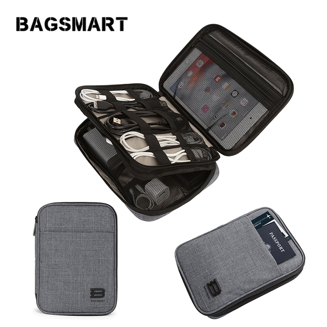 BAGSMART Electronic Accessories Bag Nylon Mens Travel Organizer For Data Line USB Cable Kindle iPad Bags For Passport