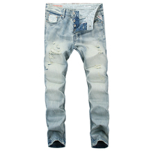 Italian Style Vintage Fashion Mens Jeans Light Blue Color Classical Buttons Pants Skinny Summer Brand Ripped Men