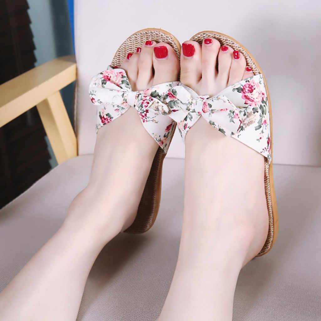 トレンディホット素敵なビーチ女性女性ボヘミアちょう結び亜麻リネンフリップは、ビーチ靴サンダルスリッパ zapatos デ mujer #122035