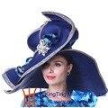 Kueeni Женщины Hat Церковь Шляпы Белый Для Свадьбы Чаепитие формальные Шляпы Широкими Полями Большой Размер Bling Bling Алмаз Оболочки Fedoras