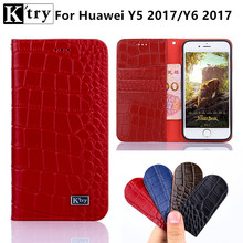 For Huawei Y6 2017 Case Sencond Layer Genuine Leather with Soft TPU Wallet Flip Cover For Huawei Y5 2017 Without Magnet