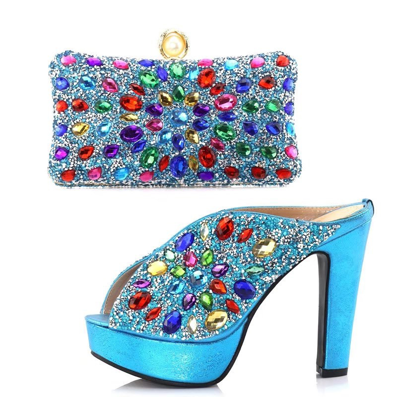 цены на High quality new arrival turquoise blue wedding high heel 5 inches shoes women with clutches bag many color rhinestones SB8122-4