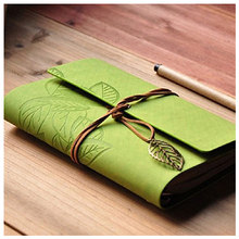 Notebook Leather Cover with Strap and Accessories Leaf White Pages Diary Notebook Note Pad Memo Agenda Notebook - Green(China)