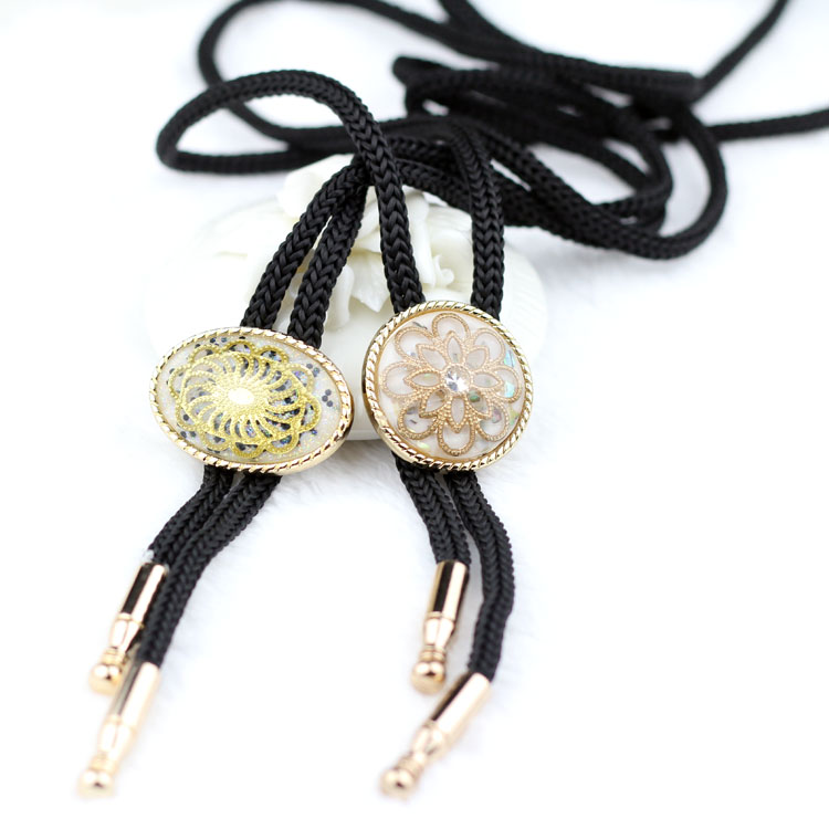Floral Gold American Indian Cowboy Bolo tie Mens Women Bow Neck Tie Suit Shirt Accessories Sweater Chain Necklace Bola Wholesale