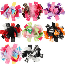 Baby Girls Feather Hair Bows With Clips Ostrich Hair Bow Accessories Princess Hairbow Gifts Kids Feather Clips 1pc