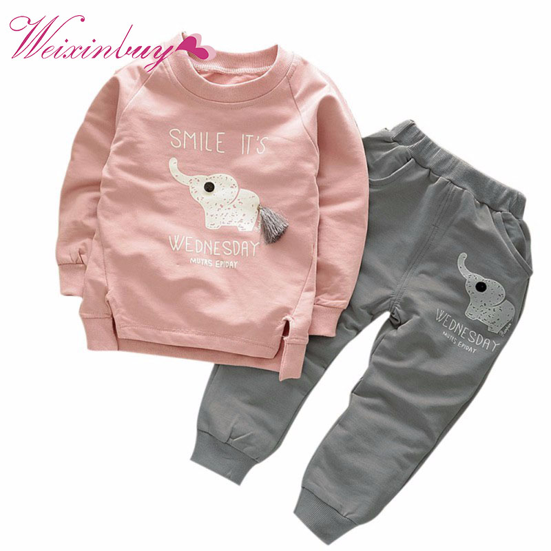 Kids Clothing Sets Baby Boys Girls Cartoon Elephant Cotton Winter Children Clothes T-Shirt+Pants Suit