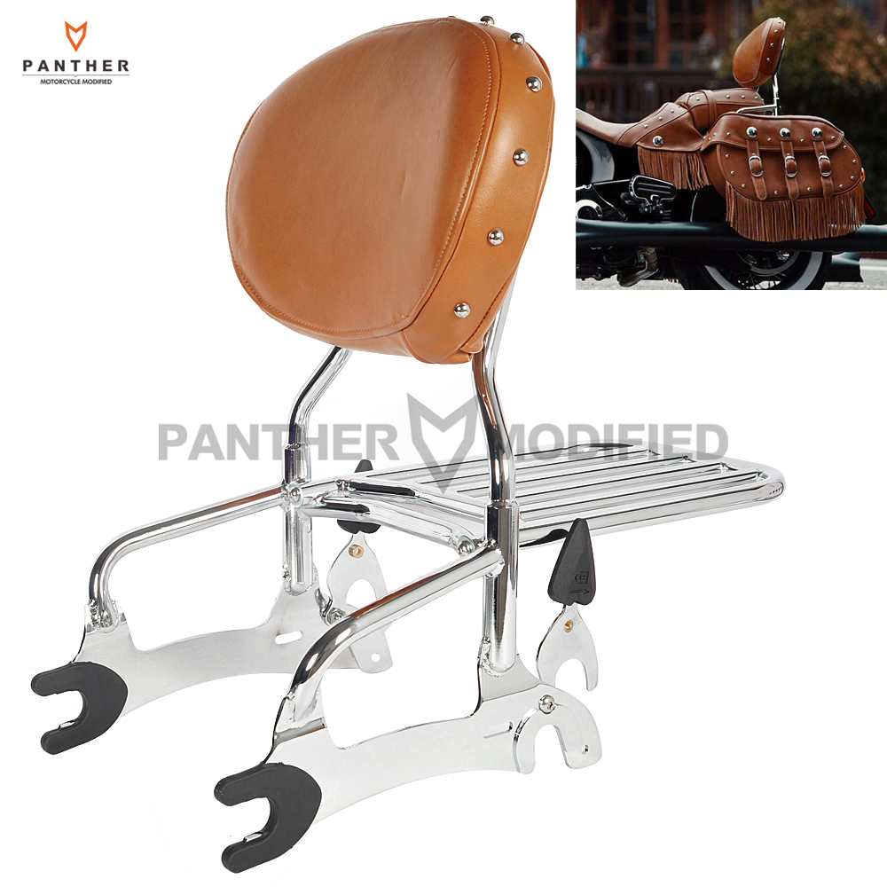 12 Motorcycle Backrest Sissy Bar With Luggage Rack case for Indian Chief Classic Vintage 2014-2017
