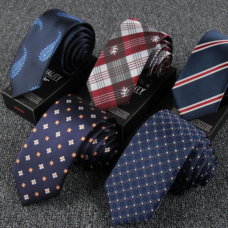New Men Tie High Quality England Style Stripes JACQUARD WOVEN Men's Fashion Tie 6cm Business Wedding Ties Male Dress Necktie