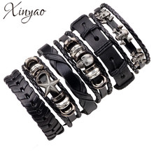 XINYAO 6pcs/set Black Wristband Genuine Leather Charm Bracelet Men Jewelry Punk Vintage Braided For Male