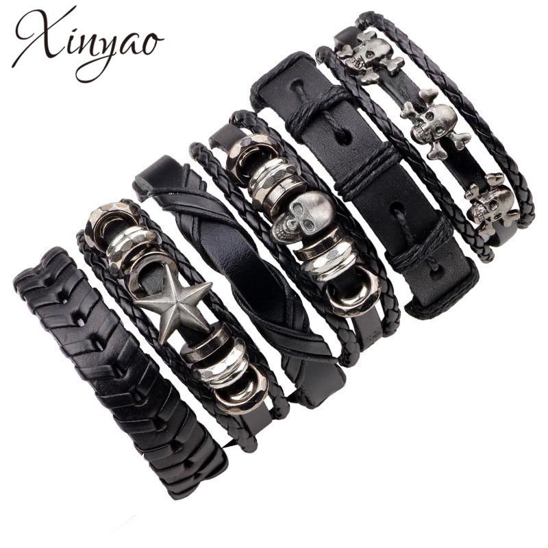 XINYAO Black Wristband Genuine Leather Charm Bracelet Sets Men Jewelry Punk Vintage Braided Leather Bracelet For Men Male