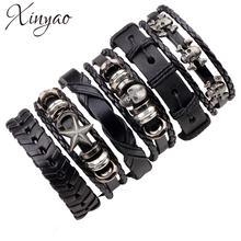 Набор браслетов xinyao из натуральной кожи для мужчин черные