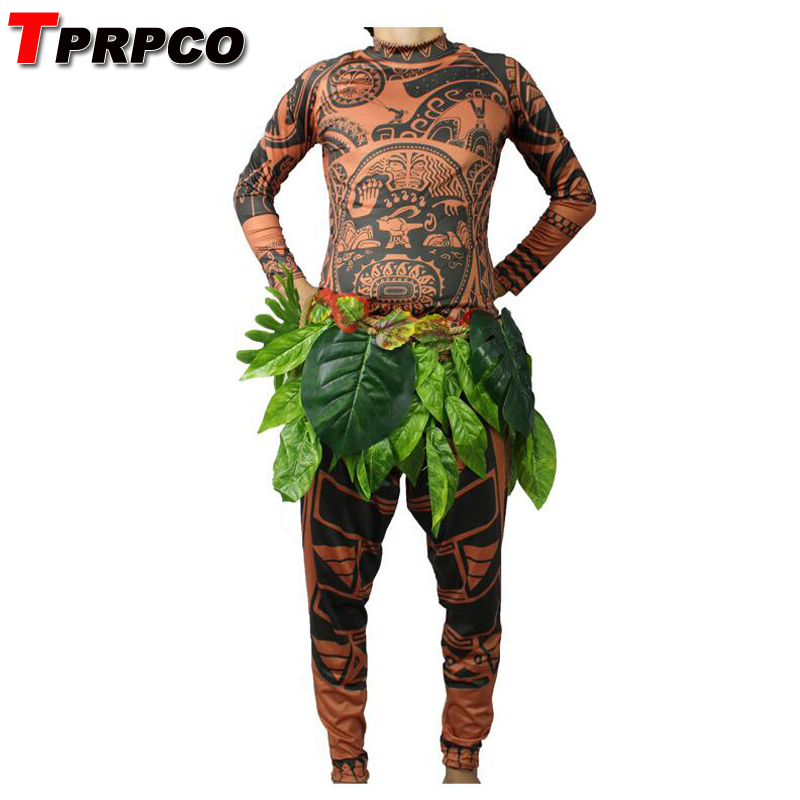 TPRPCO Movie Moana Maui Cosplay Costume Full Sets Halloween Party Men Adult Fancy BodySuit Tights Sweatshirt+ Pants +Leaves 2221