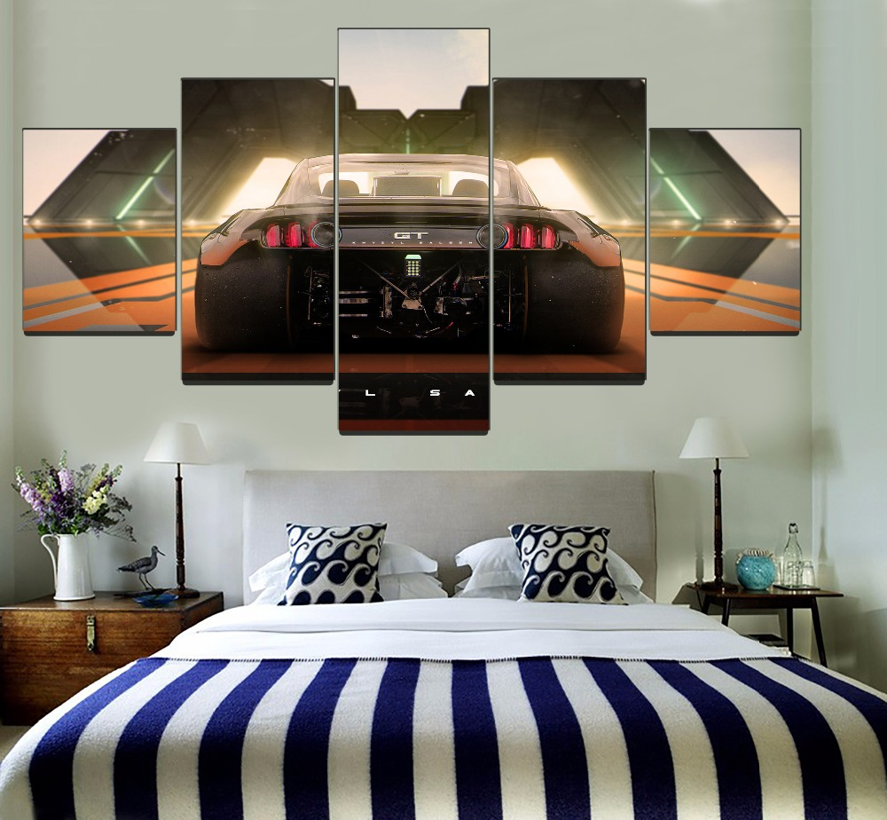 US $3.56 48% OFF|Modern Bedroom Wall Art Decor One Set 5 Piece Framework  Modular Painting Canvas HD Print Born To Drift Car GT Back View Picture-in  ...