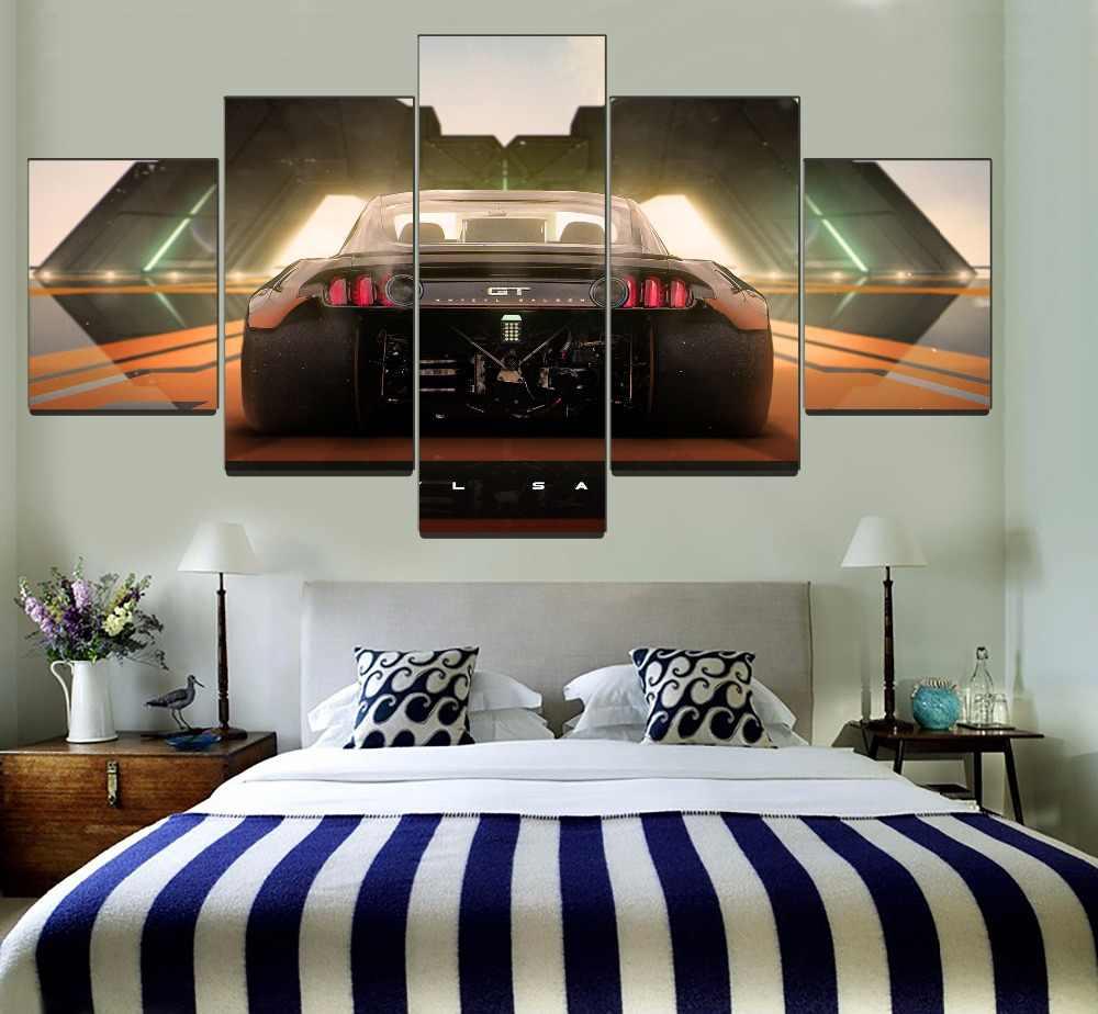 Modern Bedroom Wall Art Decor One Set 5 Piece Framework Modular Painting  Canvas HD Print Born To Drift Car GT Back View Picture