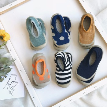 Non-slip Children Indoor Shoes Home Casual Slippers Baby Toddler Boy Socks Girl House Sneakers Kids Elastic Fabric Knitted Shoes tights
