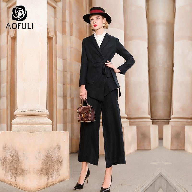 L~ XXXL 4XL Women Blazer Suits Set Linen Turn Down Collar Belt Jacket And Wide Leg Pantsuit For Office Lady AOFULI A3866