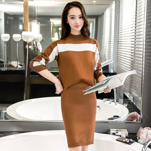 Women's Korean Loose Knit Sweater Suits 2016 Autunm Winter Fashion Casual Long Sleeve Knit Tops and Skirt 2 Piece Sets LY811