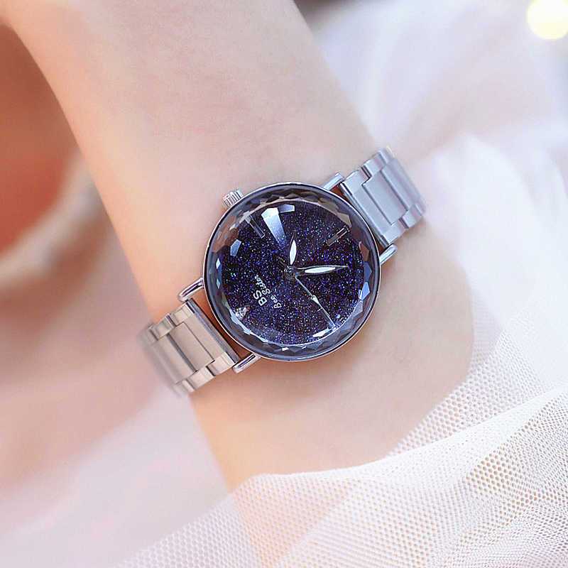 Starry sky dial Design Analog Wrist Watch Women Unique Romantic Refined solid steel stainless steel band Fashion Quartz Watches