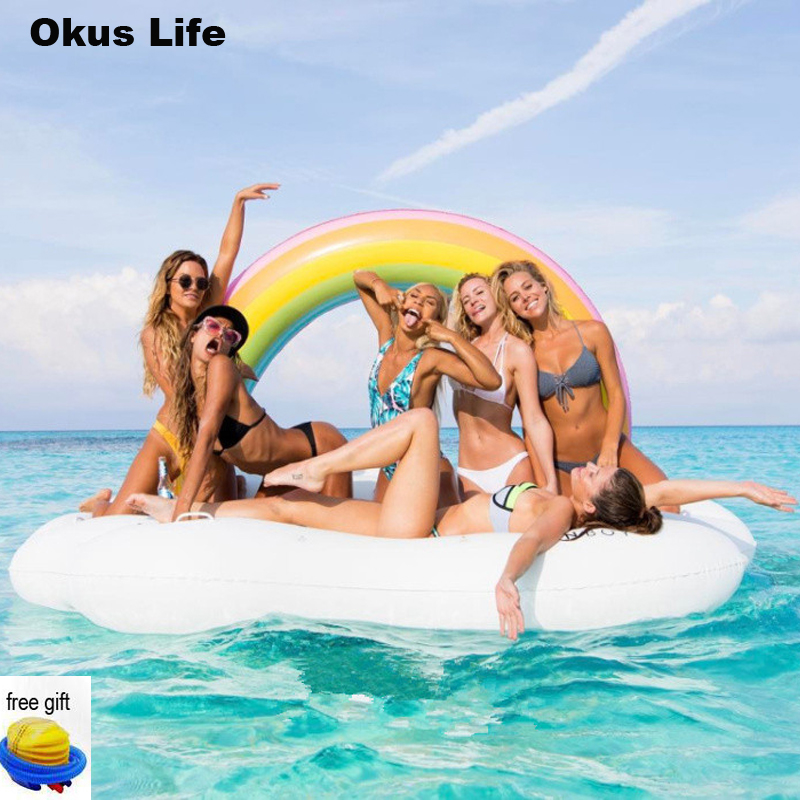 Large Adult Inflatable Swimming Ring Pool Water Park Toy Air Rainbow Island Floating Drink Holder Bathroom Beach Party Kids Bath