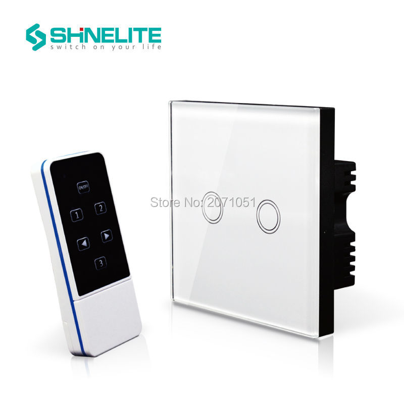 Shinelite UK Model home electronic touch wireless light switch with remote control,touch glass panel 2 gang 1 way,RF 433Mhz smart home us black 1 gang touch switch screen wireless remote control wall light touch switch control with crystal glass panel